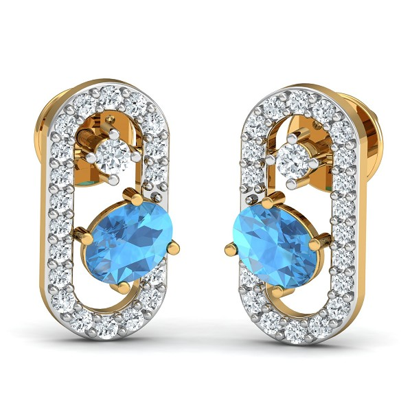 Gold Earrings 0.15 Ct Natural Certified Diamond Blue Topaz Everyday