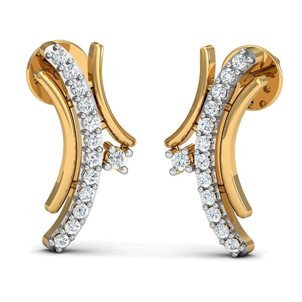 Gold Diamond Earrings 0.13 Ct Natural Certified Workwear