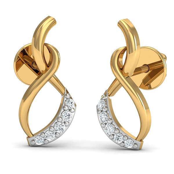 Gold Diamond Earrings 0.06 Ct Natural Certified Festive