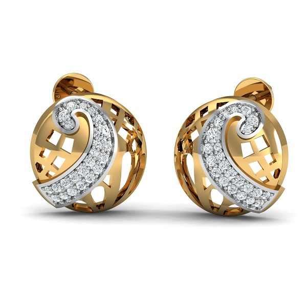 Designer Earrings 0.23 Ct Natural Certified Diamond Solid Gold Party