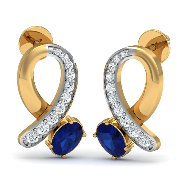Gold Earrings 0.18 Ct Natural Certified Diamond Blue Sapphire Everyday