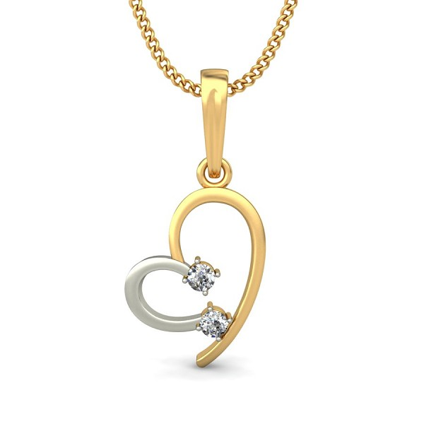 Pendant Necklace 0.06 ct Diamond Solid 2 Tone Gold Natural Certified