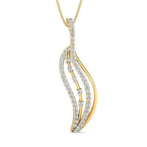 Diamond Necklace & Pendant 0.63 Ct Natural Certified Solid Gold Workwear