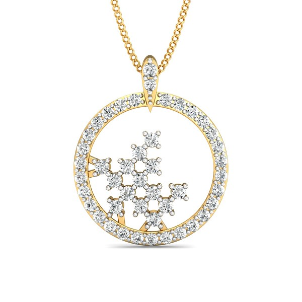 Gold Pendant Necklace 0.51 Ct Natural Certified Diamond Office Wear