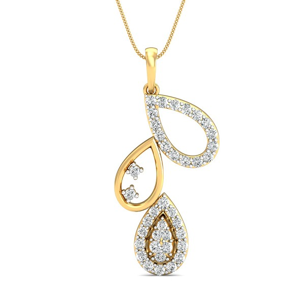 Diamond Necklace & Pendant 0.44 Ct Natural Certifed Solid Gold Festive
