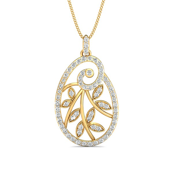 Diamond Necklace & Pendant 0.72 Ct Natural Certified Solid Gold Weekend