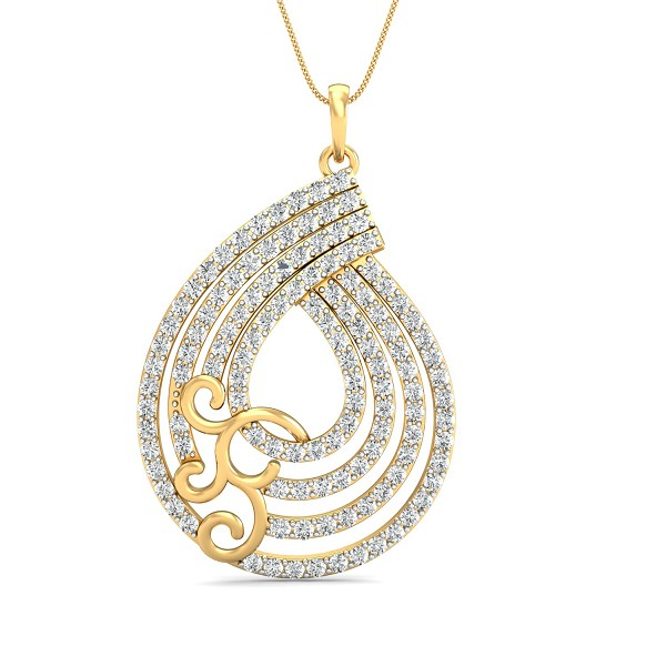 Diamond Pendant Necklace 1.56 Ct Natural Certified Solid Gold Special Occasion