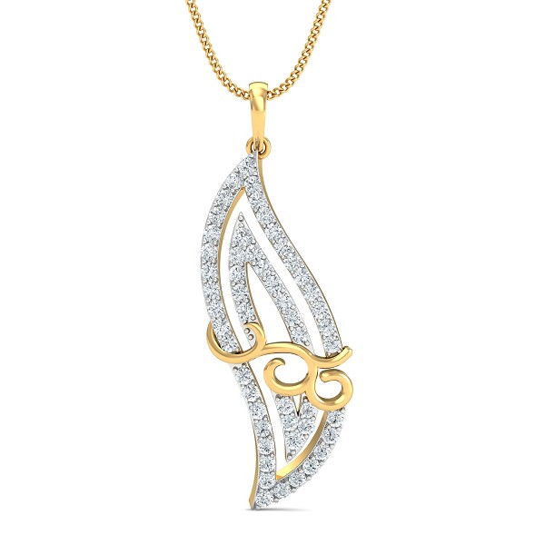 Gold Pendant Necklace 0.63 Ct Natural Certified Diamond Party