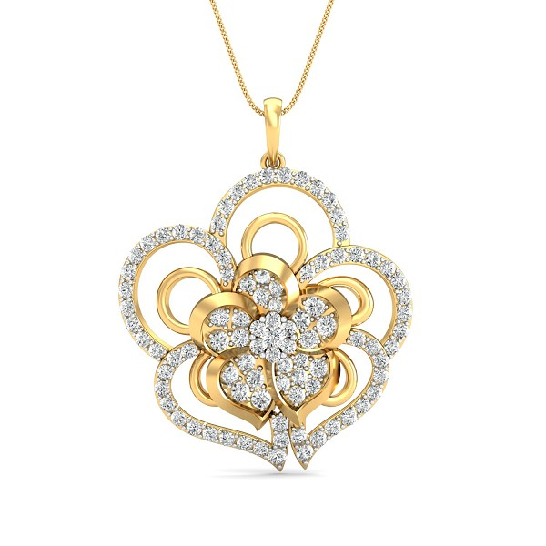 Diamond Necklace & Pendant 1.07 Ct Natural Certified Solid Gold Everyday