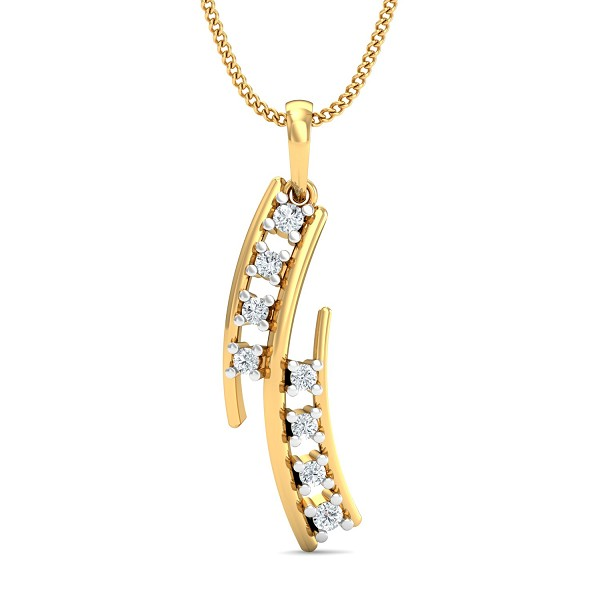 Gold Pendant Necklace 0.13 Ct Natural Certified Diamond Festive