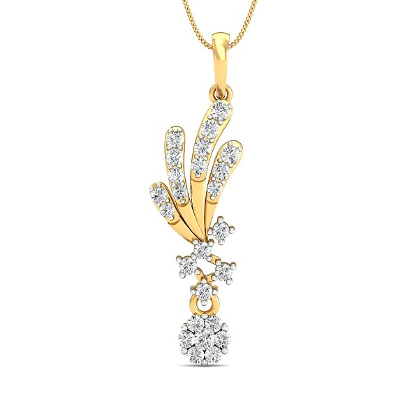 Diamond Pendant Charms 0.37 Ct Natural Certified Solid Gold Office Wear