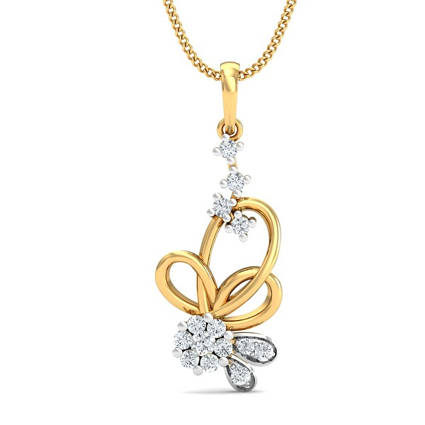 Gold Pendant 0.24 Ct Natural Certified Diamond Special Occasion