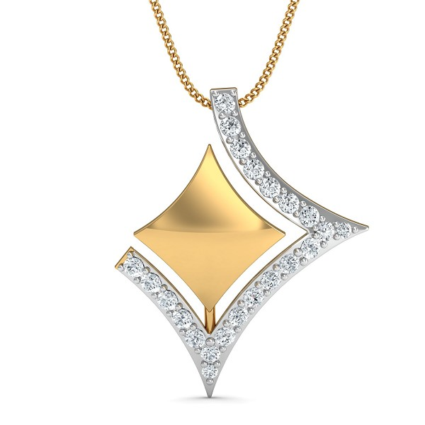 Diamond Pendant 0.13 Ct Natural Certified Solid Gold Office Wear
