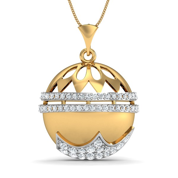 Gold Pendant 0.34 Ct Natural Certified Diamond Everyday