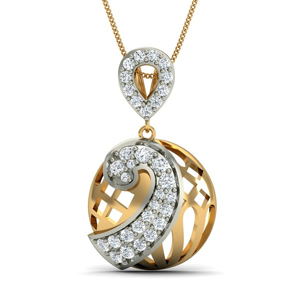 Gold Pendant Necklace 0.21 Ct Natural Certified Diamond Office Wear