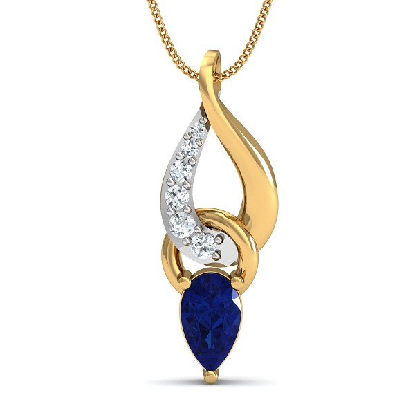 Gold Pendant 0.04 Ct Natural Certified Diamond Blue Sapphire Vacation