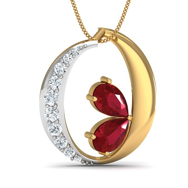 Diamond Pendant Charms 0.13 Ct Natural Certified Solid Gold Ruby Weekend