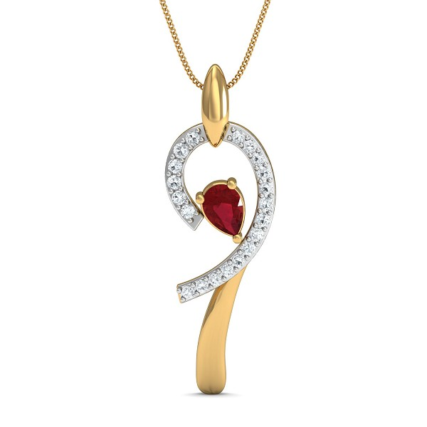 Diamond Pendant 0.1 Ct Natural Certifed Solid Gold Ruby Special Occasion