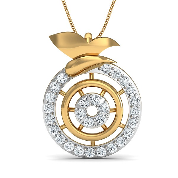 Diamond Necklace & Pendant 0.34 Ct Natural Certified Solid Gold Weekend