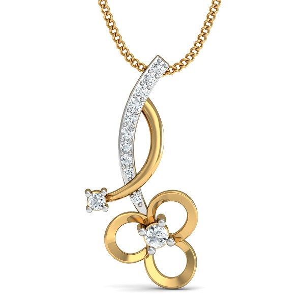 Gold Pendant 0.1 Ct Natural Certified Diamond Festive