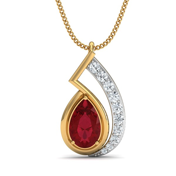 Diamond Pendant Charms 0.17 Ct Natural Certified Solid Gold Ruby Workwear