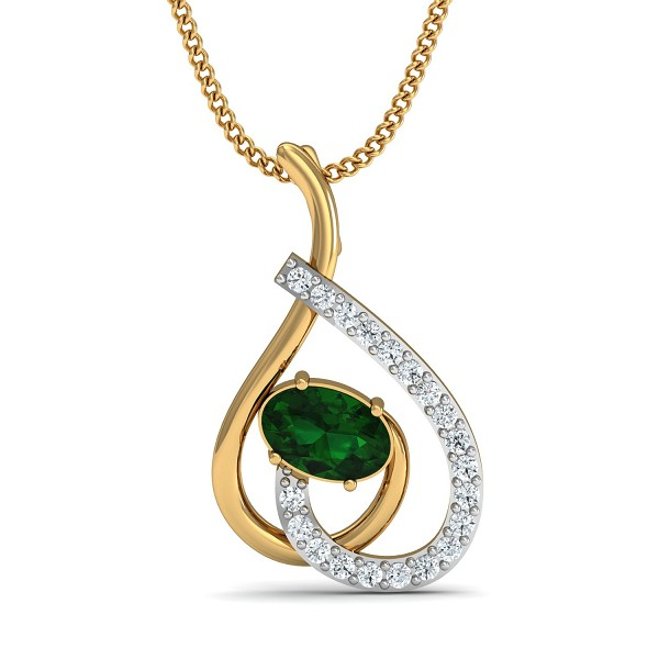 Diamond Pendant Necklace 0.1 Ct Natural Certified Solid Gold Emerald Office Wear