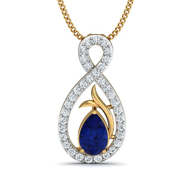 Diamond Pendant Charms 0.19 Ct Natural Certified Solid Gold Blue Sapphire Special Occasion