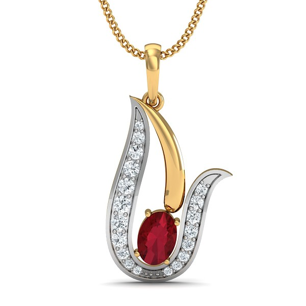 Diamond Necklace & Pendant 0.15 Ct Natural Certified Solid Gold Ruby Office Wear