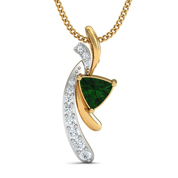 Diamond Pendant 0.1 Ct Natural Certified Solid Gold Emerald Festive