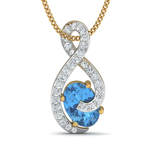 Gold Pendant 0.2 Ct Natural Certified Diamond Blue Topaz Special Occasion