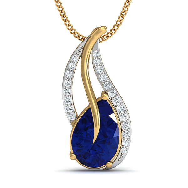Gold Pendant Necklace 0.19 Ct Natural Certified Diamond Blue Sapphire Workwear