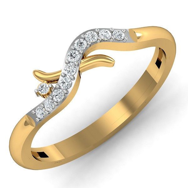 Gold Rings For Women 0.1 Ct Natural Certified Diamond Weekend