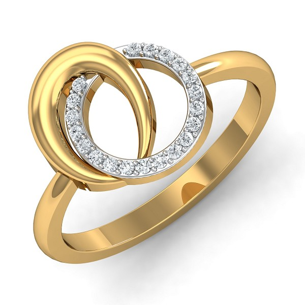 Diamond Ring Design 0.1 Ct Natural Certified Solid Gold Office Wear
