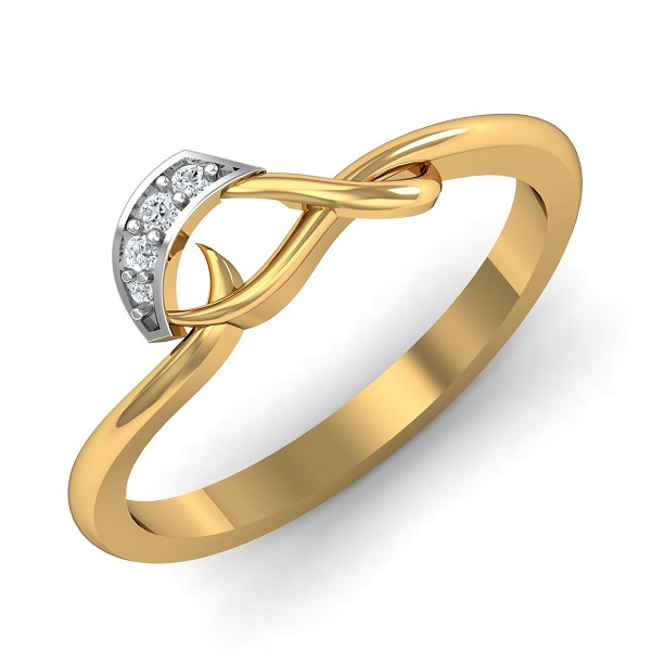 Gold Rings For Women 0.04 Ct Natural Certified Diamond Festive