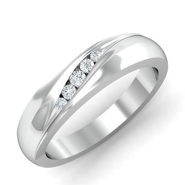 diamond Rings For Mens 0.11 Ct Natural Certified Solid Gold Office Wear