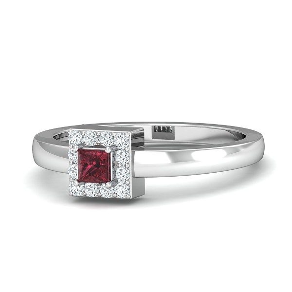 Ruby Diamond Rings For Sale 0.13 Ct Natural Certified Solid Gold Office Wear