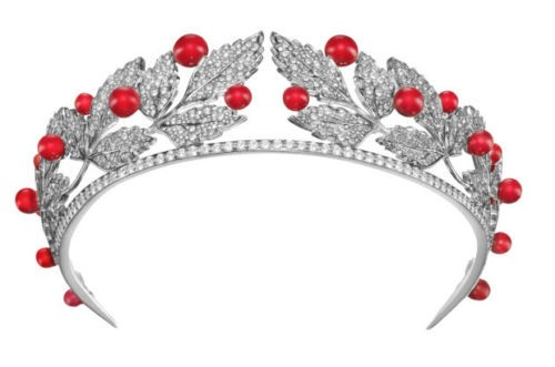 16.29CT NATURAL DIAMOND 14K WHITE GOLD CORAL WEDDING ANNIVERSARY BRIDAL TIARA