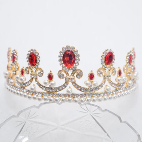 15.80CT NATURAL DIAMOND 14K YELLOW GOLD RUBY PEARL WEDDING CROWN TIARA