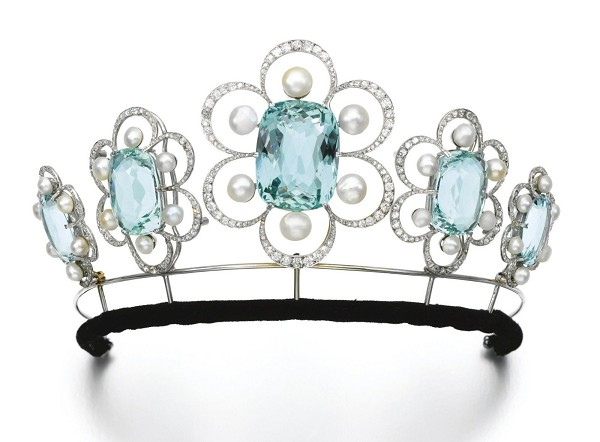 12.77ct NATURAL DIAMOND BLUE TOPAZ 14K WHITE GOLD WEDDING ANNIVERSARY TIARA
