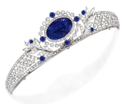 12.500ct NATURAL DIAMOND SAPPHIRE 14K WHITE GOLD WEDDING ANNIVERSARY TIARA