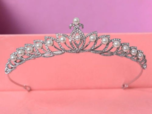 6.54CT NATURAL DIAMOND 14K WHITE GOLD PEARL WEDDING ANNIVERSARY CROWN TIARA