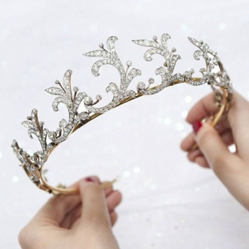 9.90CT NATURAL DIAMOND 14K YELLOW GOLD WEDDING ANNIVERSARY CROWN TIARA