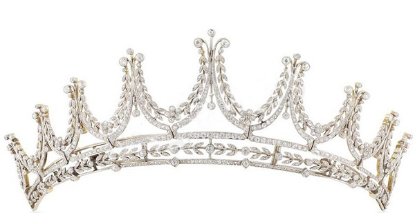 5.00CT NATURAL DIAMOND 14K WHITE GOLD PEARL WEDDING ANNIVERSARY CROWN TIARA