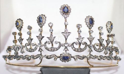 7.60cts ROSE CUT DIAMOND SAPPHIRE ANTIQUE VICTORIAN LOOK 925 SILVER HAIR TIARA