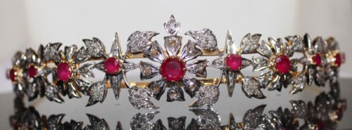 10.10cts ROSE CUT DIAMOND RUBY ANTIQUE VICTORIAN LOOK 925 SILVER TIARA