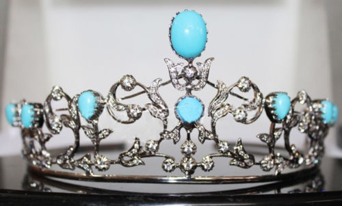 5.61cts ROSE CUT DIAMOND TURQUOISE ANTIQUE VICTORIAN LOOK 925 SILVER TIARA
