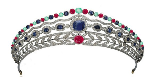 18.26ct ROSE CUT DIAMOND MIXED GEMSTONE'S ANTIQUE VICTORIAN LOOK SILVER TIARA