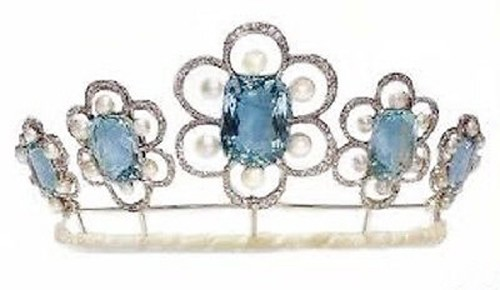 Queen Crown 8.35 Ct Natural Certified Diamond Blue Topazandpearl Sterling Silver Bridal Hair Accessories