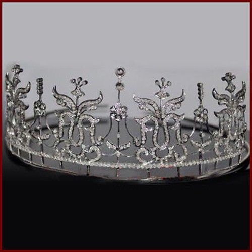 Diamond Crown 14.2 Ct Natural Certified Diamond Sterling Silver Antique Reprodcution