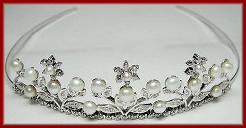 Tiara Online 4.8 Ct Natural Certified Diamond Pearl Sterling Silver Bridal Hair Accessories